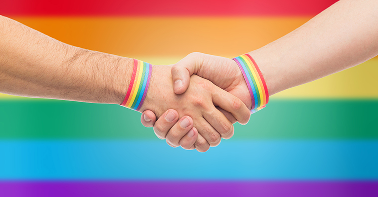 handshake LGBTQ flag background